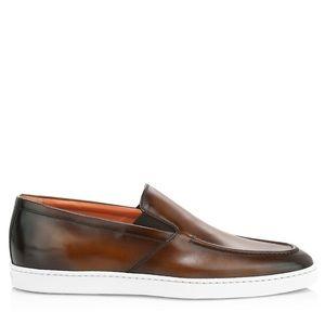 Santoni Farley Slip-On Leather Sneakers